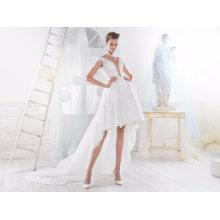 Venda quente Oi-Low Lace vestido de noiva curto casamento