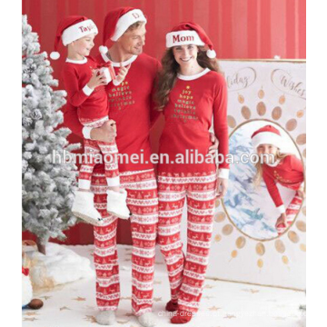 Atacado China fornecimento de fábrica 100% algodão pijamas de natal crianças pijama de natal na cor vermelha e branca