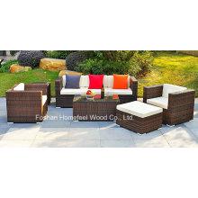 Conjunto de 6 pedaços de sofá de vime com almofadas de assento