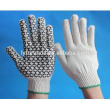 Anti-derrapante luvas, algodão tricô luvas com pvc pontos na palma de um lado
