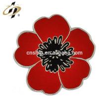 Pinos da flor do metal do esmalte do presente do retorno do costume com placa de ouro