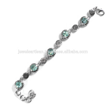 Beautiful Sky Blue Topaz Gemstone 925 Sterling Silver Bracelet Jewelry