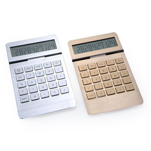 Aluminum Surface Dual Power Desktop Calculator