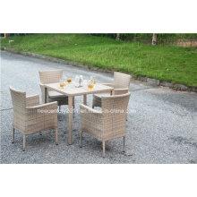 Rattan-Garten-Weidenspeisetisch und Stuhl im Freien