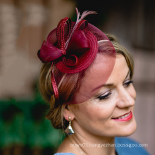 Mini Royal Fascinator Headpieces Dark Red Ball Hat Victoria Derby Kentucky Derby Couture Millinery Wedding