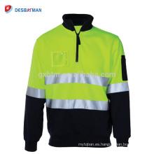 Hi Vis Polo Camisa de manga larga Ropa de trabajo Safety Contrast T-shirts con cintas reflectantes y bolsillos