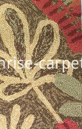 Hand Hooked Carpet Brown and Beige