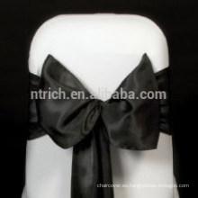 Marco de la silla del satén negro barato y excelente, lazos de silla, envolturas para hotel de banquete de boda