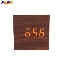 Lovely Cube Walnut Led Table Clock