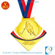 Design especial de alta qualidade 3D liga de zinco estampagem medalha de golfe com chapeamento de ouro