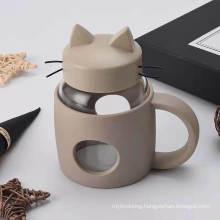 Creative Big Mouth Cartoon Moustache Cat Cup Handle Glass Fashion Office Cup Tea Cup Wholesale
