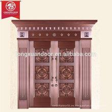 Puerta de bronce de Villa de encargo de la fábrica, puerta doble del cobre del oscilación