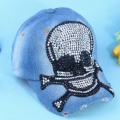 2014 new fashion spring autumn diamond Rivet skull Jeans baseball cap peak cap adjustable