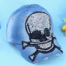 2014 new fashion spring autumn diamond Rivet skull Jeans baseball cap peak cap adjustable