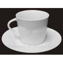 Haonai elegant delicate plain white ceramic coffee set with special handle