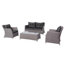 4PCS Delicioso sofá de mimbre al aire libre Lounge Sofá muebles