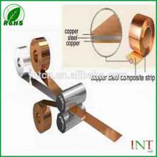 Pure copper clad steel strip