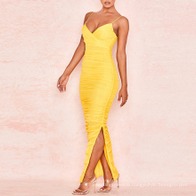 Yellow Ruched Mesh Maxi Bandage Wrap Bodycon Evening Dress