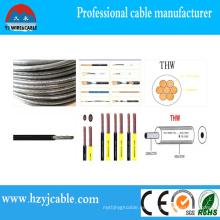 Precio del cable del alambre de construcción 75c seco, 75cwet 16AWG Thwn cable de alambre de PVC termoplástico, cable del fabricante de China