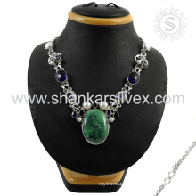 Young girls design multi gemstone necklace 925 sterling silver jewelry wholesale supplier