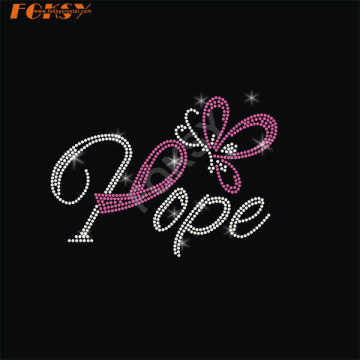 Written Pink Ribbon Iron on Rhinestone Transfer