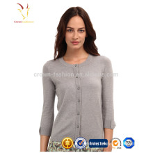 Wholesale Bracelet Sleeve Ladies Cashmere Wool Knit Cardigan Sweater