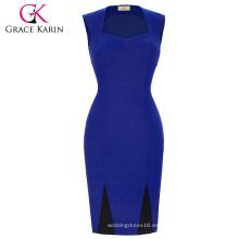 Grace Karin Mujeres Verano Vestido Lápiz Alto Stretchy sin mangas Nylon-Algodón Spandex azul Retro Vintage vestido CL008945-1