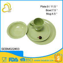 wholesale round shape solid color melamine bamboo kitchenware