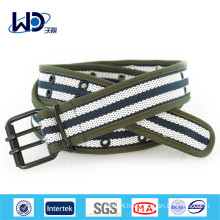 Men Double Pin Buckles Canvas Webbing Belts
