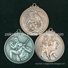 Médaille personnalisée de sport en métal antique