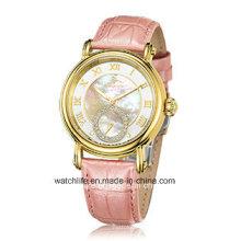 Moda diamante de cuarzo de cuero correa de zafiro señora reloj de pulsera