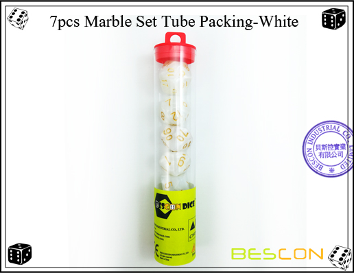 7pcs Marble Set Tube Packing-White