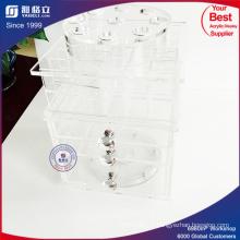 Porte-crayons en acrylique acrylique transparent avec tiroirs