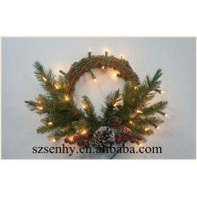 Artificial christmas wall hangings christmas holly wreath with berry and flower ornament