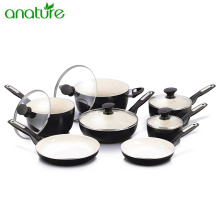 Porcelain 100% Ceramic 12 pcs Aluminum Cookware Set