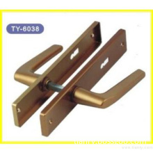 Plating Finish Gold Color Aluminium Alloy Door Handle With Plate