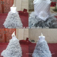 NW-472 Charmoso Beaded Top Com Saia De Pena Vestido De Festa Flower Girl Dress