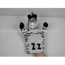 fantoche de mão de pelúcia animal zebra