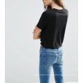 Venda quente preta de Custome colhida com o t-shirt dianteiro das mulheres do nó
