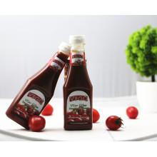 botella plástica al por mayor de la botella del apretón 340g ketchup de tomate