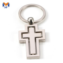 Metal cross keychain mockup