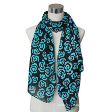 Fashion Lady Cotton/Linen Flower Printed Voile Scarf (YKY4066)
