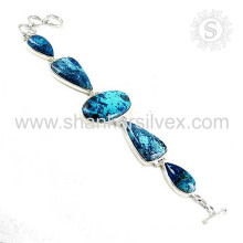 Efficacious azurite silver bracelet jewelry handmaded 925 sterling silver gemstone bracelets jewellery wholesaler