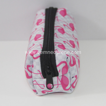 Clear flamingo printing pencil pouches high quality neoprene