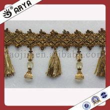 Las fronteras moldeadas al por mayor de la borla de la manera elegante, cordón de la tela para el hogar adornan