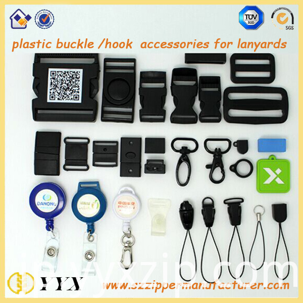 plastic buckle/hook accessories for lanyards
