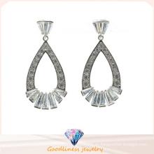 La manera cristalina superior de piedra de la CZ de la alta calidad cuelga la joyería plateada rodio de la mujer de Earrigs del rodio de los pendientes (E6400)