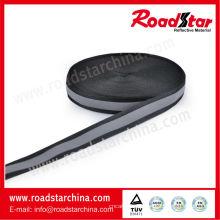 alta visibilidad de 2 cm de ancho negro reflectante poliéster correas de cinta