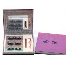 SL012H Hitomi 100% Siberian Mink Eyelashes soft natural mink eyelashes Fluffy 25mm Magnetic Eyelashes with Eyeliner and tweezers