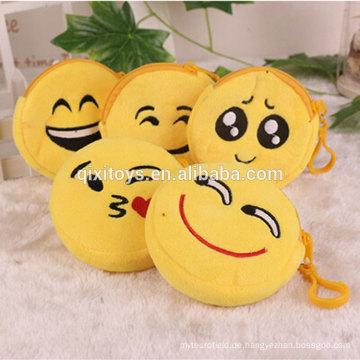 Neue beliebte Design Plüsch Emoji Geldbörse Souviners Geschenk niedlichen Emoticon Plüsch Tasche Geld Tasche Großhandel